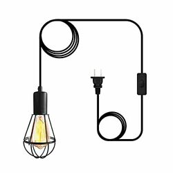 Plug in Pendant Hanging Light19.7ft Industrial Hanging Cage Pendant LightE26 ... $23.81