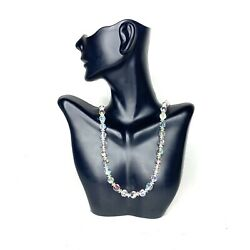 Vintage Crystal Single Long Strand Necklace 30quot; Aurora Borealis Clear Beautiful $34.99