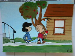Original Acrylic ACEO Painting Linus Finds An Apple On The Way To Find Pumpkin $5.95