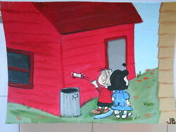 Original Acrylic ACEO Painting Linus Tosses Apple Core In The Trash $5.95