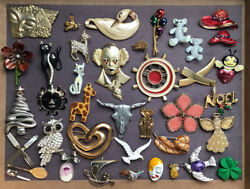 39 Pieces Vintage amp; Modern Brooch Pin Lot Unsigned $29.90