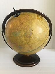 Rare Vintage Lexicon Publications Spinning Yellow Globe Bronze Color Metal Base $140.00
