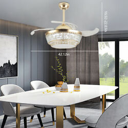 42quot; Invisable Ceiling Fan Lamp 110V LED Crystal Lighting Chandelier with Remote $185.16