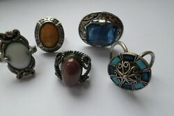 3 vintage glass topped Celtic style finger rings and 2 scarf rings GBP 19.99
