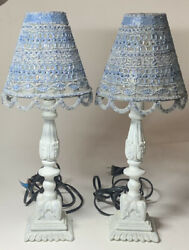 Anthropologie Set Of 2 Lamps With Beaded Shades Blue And White $200.00