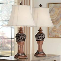 Wood Finish Table Lamps Set Of 2 Carved Leaf Detailing 30quot; High Lamps Plus $99.99