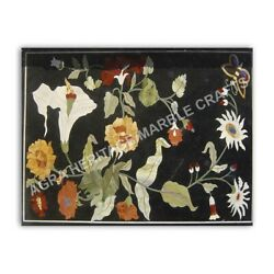 4#x27;x3#x27; Black Marble Contemporary Table Top Marquetry Inlay Floral Home Decor E968 $1972.79