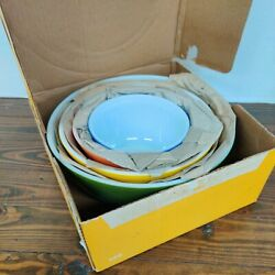 Vintage With Orig Box 4 Pc. Primary Colors Pyrex Mixing Bowl Set 400 Mint Cond $349.99