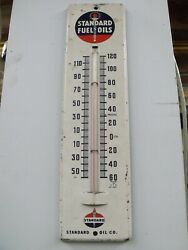 Old Original early 1950#x27;s era STANDARD OIL Vintage Tin Thermometer Sign WORKS $99.95