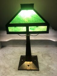 Antique Mission Style Stud Accent Table Lamp Spider Harp Green Slag Glass Shade $295.00