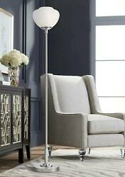 Modern Tall Torchiere Floor Lamp Brushed Nickel Chrome Metal Decor Living Room $179.99