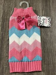 Simply Wag Dog Pink Sweater with Bow SMALL $15.00
