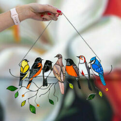 Wire Hanging Suncatcher 7 Birds Window Panel Ornaments Decor Stained Glass US $7.99