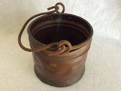 Antique handmade Copper Bucket Pail with cast iron swing bail handle $45.00