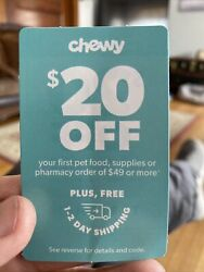 pet supplies Chewy $20 Off $49 Plus 1 2 Day Shipping. Exp 12 31 2021 $8.00