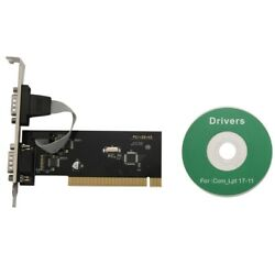 New 2 Ports Pci To Com 9Pin Serial Port RS232 Expand Riser Card Adapter TX382BW1 $11.99