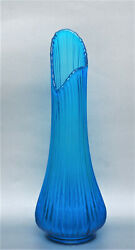 MID CENTURY MODERN PEACOCK BLUE SWUNG VASE TEXTURED RIBBED 16quot; SMITH $60.00