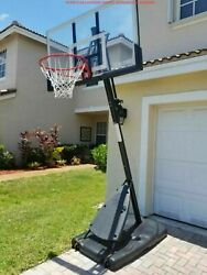 Spalding 54quot; Shatter proof Polycarbonate Exactaheight® Portable Basketball Hoop $240.53