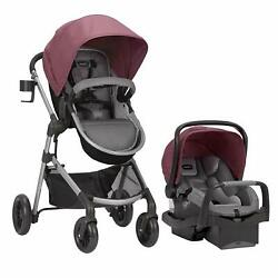 Evenflo Pivot Stroller and Infant Car Seat Travel System Dusty Rose Open Box $229.05