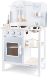 Classic Toys White Wooden Pretend Play Toy Kitchen for Kids with Role Play Bon $104.82