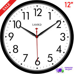 Large Wall Clock Silent Indoor Outdoor Battery Powered Analog Office Home School $15.65