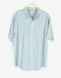 Croft Barrow Easy Care Men#x27;s Large Striped Button Up Short Sleeve Shirt $14.95