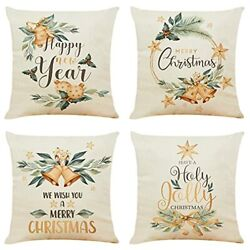 Pillow Covers Set of 4 18x18 Inch Farmhouse Rustic Decorations Winter Christmas $16.74