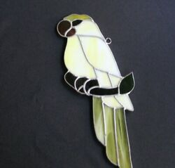 Vintage Leaded Slag Stained Glass Sun Catcher Parrot $19.99