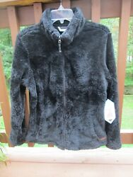 FREE COUNTRY JACKET Black Alpine Butter Pile Front Zip Women#x27;s Large $80 NEW $24.99