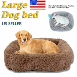 16in 32in Long Plush Pet Dog Beds Fluffy Large Medium Dog Cat Warm Calming Bed $29.99