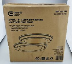 Commercial Electric 11quot; LED Color Changing Low Profile Oil Bronze 2 Pack NEW