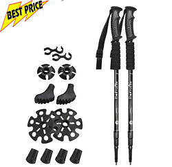 2 Pack Nordic Walking Trekking Poles Collapsible Ultralight Quick Lock System $29.90