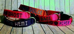 PERSONALIZED Embroidered Adjustable DOG COLLAR Pet ID Tag Name and Phone $17.99