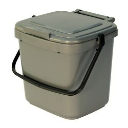Kitchen Compost Caddy Silver Grey for Food Waste Recycling 7 Litre 7L Bin GBP 7.99