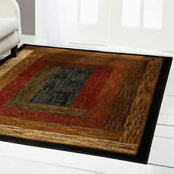 RED GREEN BEIGE TAN BORDERED MODERN GEOMETRIC AREA RUG CONTEMPORARY CARPET $39.89