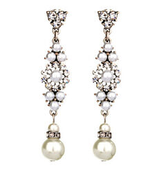 Silver tone pearl and crystal chandelier earrings GBP 2.99
