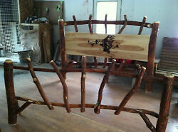 Sassafras Rustic Log KING Bed with Eagle Graphics Amish Made in USA