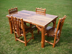 46x46 Sassafras Walnut Rustic Log Kitchen table + 4 chairs Amish Made in USA