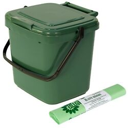 Green Kitchen Compost Caddy amp; 25x 8L Compostable Bags Food Waste Recycling 7L GBP 11.99