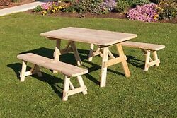 Outdoor 8 Foot Picnic Table with 2 Benches *Unfinished Pine* 8 Ft Picnic Table