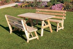 Outdoor 4 Foot Picnic Table w 2 Backed Benches *8 Stain Colors* Amish Made USA