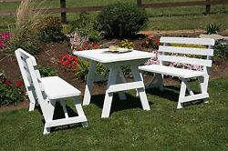 Outdoor 4 Foot Picnic Table w 2 Backed Benches  *8 Paint Colors* Amish Made USA