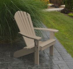 Poly Fanback Adirondack Chair *WEATHERED WOOD COLOR* Amish Made USA