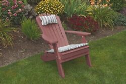 Poly FOLDING & RECLINING Adirondack Chair *CHERRY WOOD COLOR* Amish Made USA