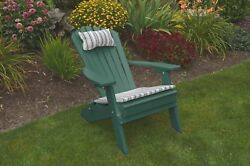 Poly Lumber Wood Folding and Reclining Adirondack Chair * TURF GREEN COLOR*