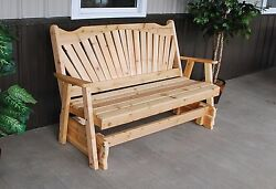 Classic Outdoor 6 Foot Fanback Porch Glider *8 STAIN OPTIONS*  6 ft Glider