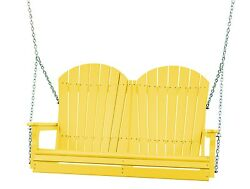 Poly Furniture Wood 4 Foot Outdoor Adirondack Swing *YELLOW COLOR* 4 Ft Swing