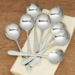 RSVP MONTY'S STAINLESS STEEL 1810 SOUP SPOON SETS 2 4 OR 8 SPOONS MD IN ITALY
