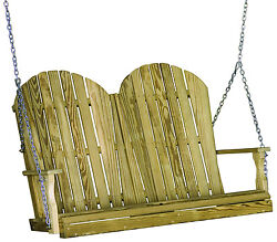 Outdoor Treated Yellow Pine 4 Foot Adirondack Design Porch Swing 4 ft Swing