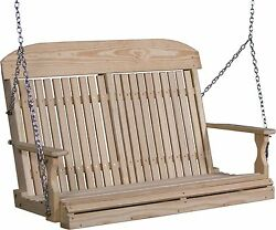 Outdoor Treated Yellow Pine 4 Foot Classic Highback Design Porch Swing